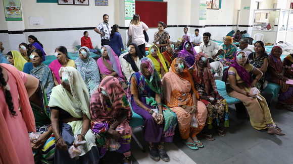 Patients waiting in a surgery in Bhopal, India